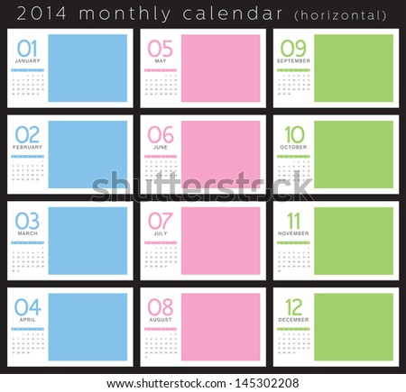 2014 Monthly Calendar - stock vector