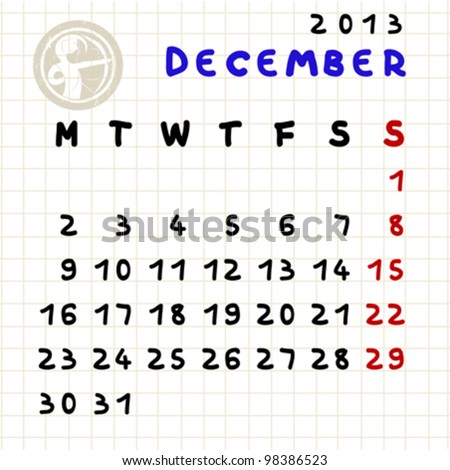 2013 monthly calendar December 2013 with Sagittarius zodiac sign stamp