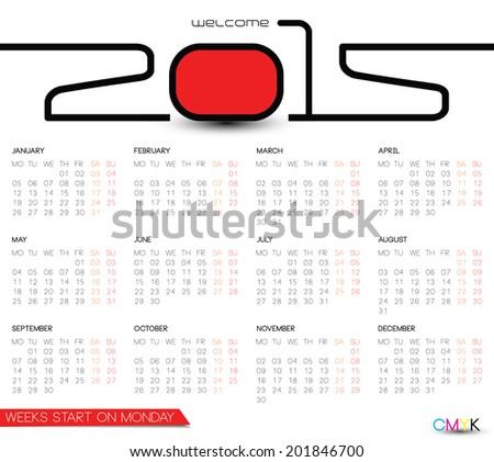 2015 monthly calendar template, simple calendar, weeks start on Monday - stock vector