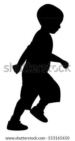 31 months old baby boy running, silhouette vector - stock vector