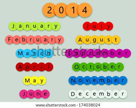 2014 months on multicolor circles with shadows on grey background - stock vector