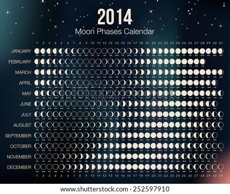 2014 Moon Phases Calendar. Vector Illustration. Easy to edit. - stock vector