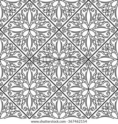 Moroccan floral monochrome seamless ornament. Vector illustration - stock vector