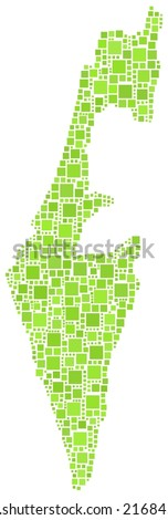 Mosaic of green squares of the Map of Israel - middle east - - stock vector
