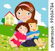 Mother and her kids - stock vector