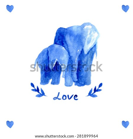 mother elephant with child. watercolor elephant mother with baby. Blue illustration. Love text. Happy mother's day card template. heart. branch watercolor. sweet animal - stock vector