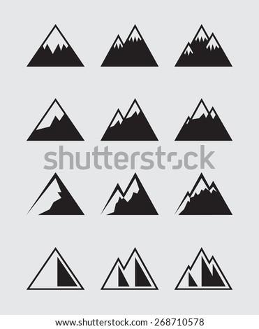 12 Mountain icons black - stock vector