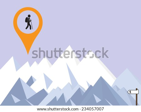 mountains background and hiker