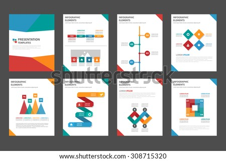 8 multicolor multipurpose presentation template flat design set for brochure flyer marketing and advertising 2 - stock vector