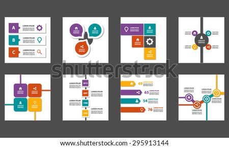8 Multicolor presentation template infographic element brochure flyer flat design set - stock vector