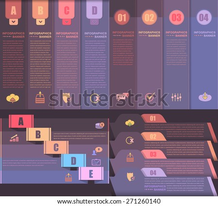 Multicolored Layers and Title Style Infographics Template Set - stock vector