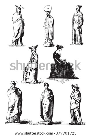 Museum, Greek terracotta statues, vintage engraved illustration. Magasin Pittoresque 1880.