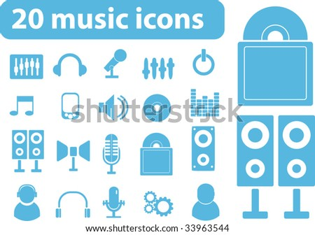 20 music icons. vector. - stock vector