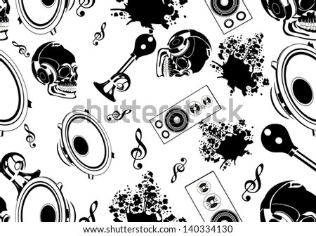 music seamless pattern background in vector - stock vector