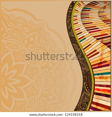 musical background with abstract grudge piano keyboard and creative design elements - stock vector