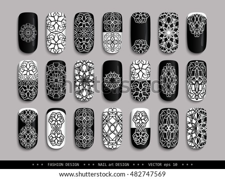 Nail art design black white set stock vector 482747569 shutterstock nail art design black white a set of overhead nail labels stickers prinsesfo Gallery
