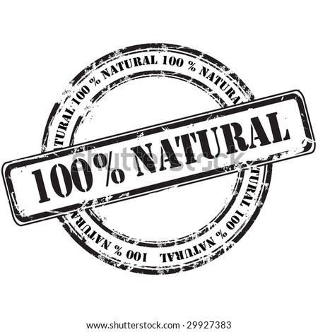 %100 natural grunge rubber stamp background - stock vector