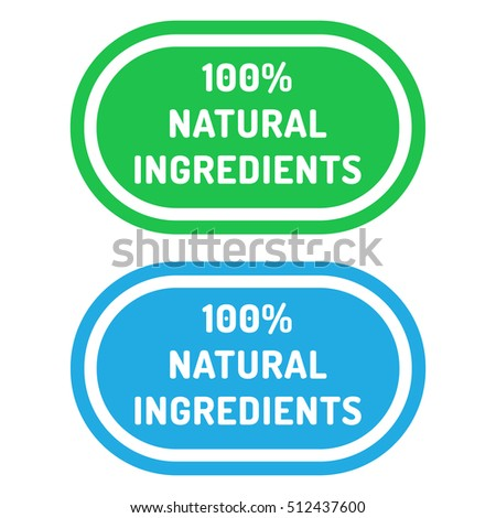 100% natural ingredients. Badge logo, icon set. Flat vector illustration on white background. Can be used business company for eco, organic, bio theme.