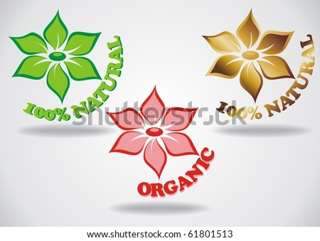 100% natural, organic. Logo. Symbol of the flower. Vector illustration for your design. You can find similar works in my portfolio. You can find similar works in my portfolio. - stock vector