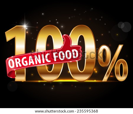 100% natural product, 100% organic typography with thumb up icon vector- eps10 - stock vector
