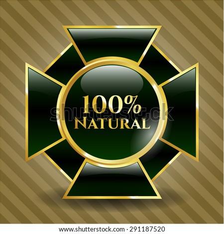 100% Natural shiny badge - stock vector