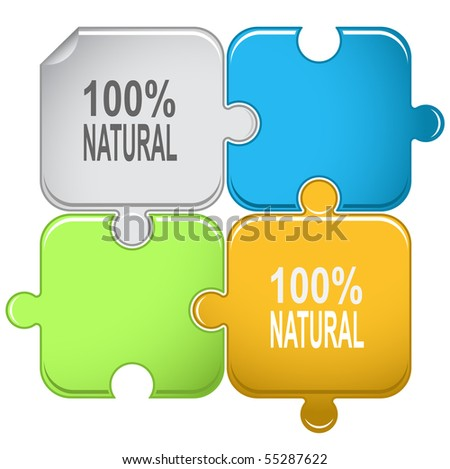 100% natural. Vector puzzle. - stock vector