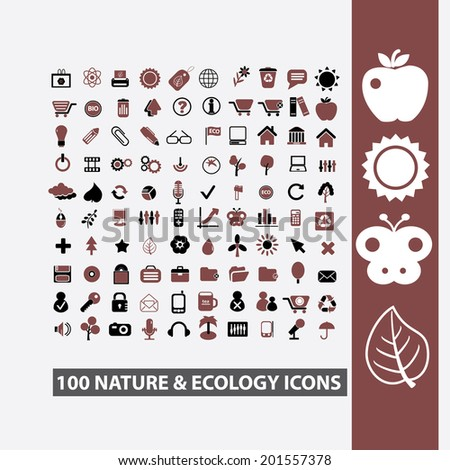 100 nature, ecology, climate, environment, weather icons set, vector - stock vector