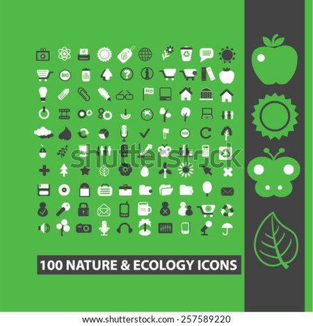 100 nature, ecology, environment isolated icons, signs, silhouettes, illustrations,  set, vector - stock vector