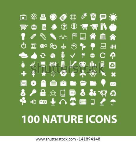 100 nature, ecology, green, biology, environment, vacation, travel icons set, vector - stock vector