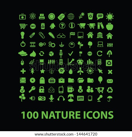 100 nature, ecology icons set, vector - stock vector