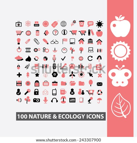 100 nature, ecology icons, signs, symbols, illustrations set on background, vector - stock vector