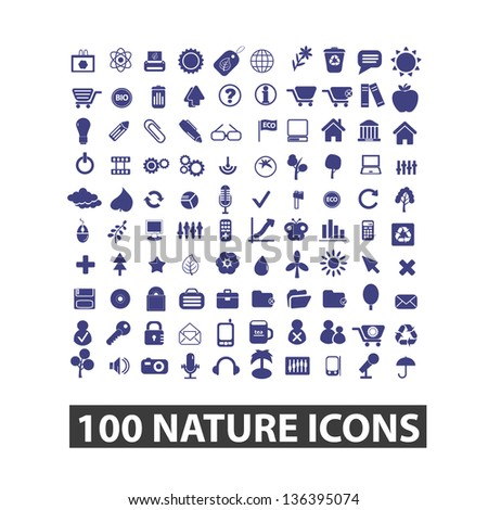 100 nature, environment, ecology icons, signs, vector set - stock vector