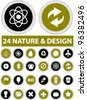 24 nature green buttons set, vector - stock photo