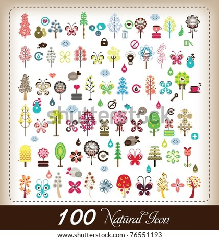 100 nature icon - stock vector