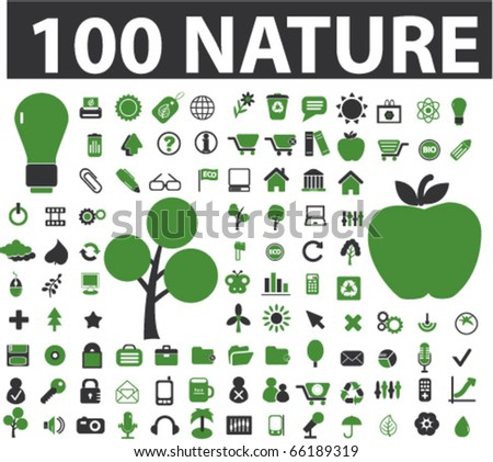 100 nature signs. vector - stock vector