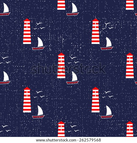 Navy vector seamless sea pattern: sailboat, lighthouse, seagull. Cute nautical background. Marine life Background Collection. Baby shower vector illustration.. - stock vector