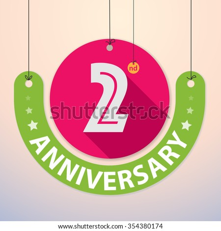2nd Anniversary - Colorful Badge, Paper cut-out - stock vector