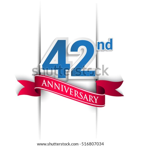 42nd anniversary logo, blue and red colored vector design on white background. template for Poster or brochure and invitation card.
