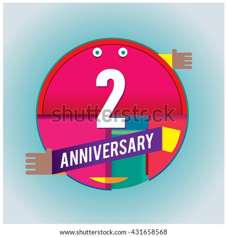 2nd anniversary logo with colorful circle badge. Anniversary signs illustration. Vibrant colors anniversary logo with geometric shape and circle ring