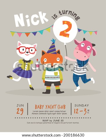 2nd Birthday Party Invitation Card - stock vector