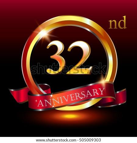 32nd Golden Anniversary Logo 32 Years Stock Vector 505009303