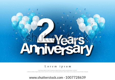 2nd years anniversary greeting card lettering stock vector