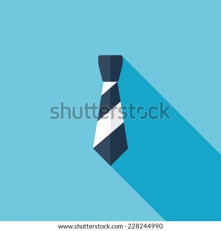 Necktie flat icon. Modern flat icons with long shadow effect in stylish colors. Icons for Web and Mobile Application. EPS 10. - stock vector