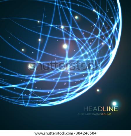Neon grid globe background. Vector illustration EPS10 - stock vector