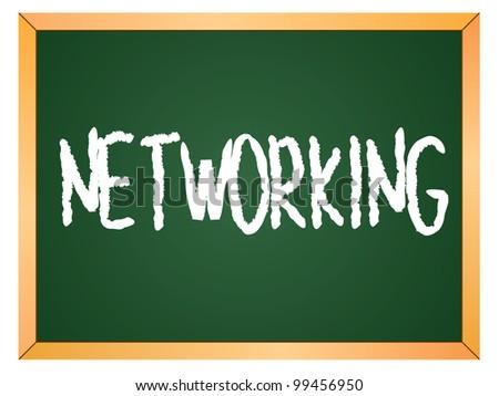 """""""networking"""" word written on chalkboard - stock vector"""