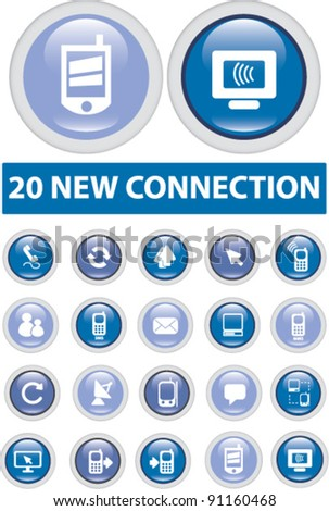 20 new connection buttons set, vector illustration