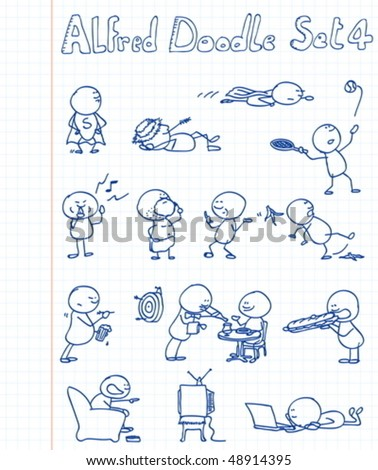 14 new, cool and funny doodles featuring Alfred Doodle in different situations. - stock vector
