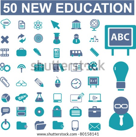 50 new education icons, signs, vector illustrations