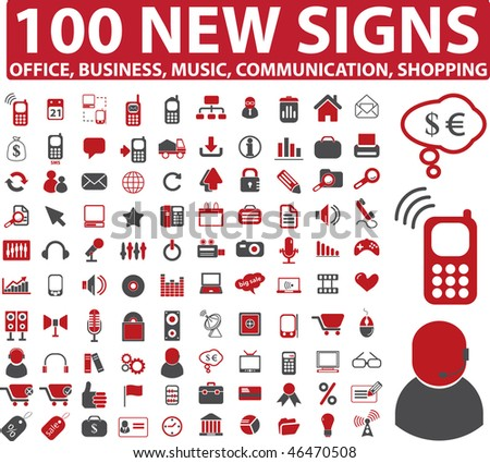 100 new signs. vector