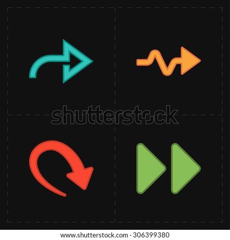 4 new simple arrows - stock vector